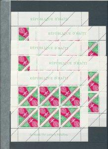 HAITI Triangulars Malaria Blocks MNH x 5(Tro 556