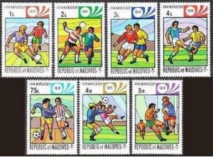 Maldives 516-522,523,MNH.Michel 521-527,Bl.26A. World Soccer Cup Munich-1974.