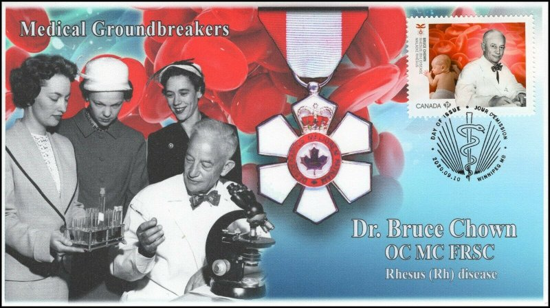 CA20-030, 2020, Medical Groundbreakers, Dr Bruce Chown, Pictorial Postmark, FDC