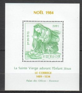 Y1425 1984 RWANDA ART PAINTINGS CHRISTMAS 1984 FLORENCE CORREGIO 1BL MNH