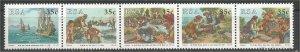 SOUTH AFRICA, 1992, MNH strip of 5, History of postal Scott 823a
