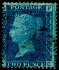 SG47, 2d dp blue plate 13, USED. Cat £30. IRELAND. PB