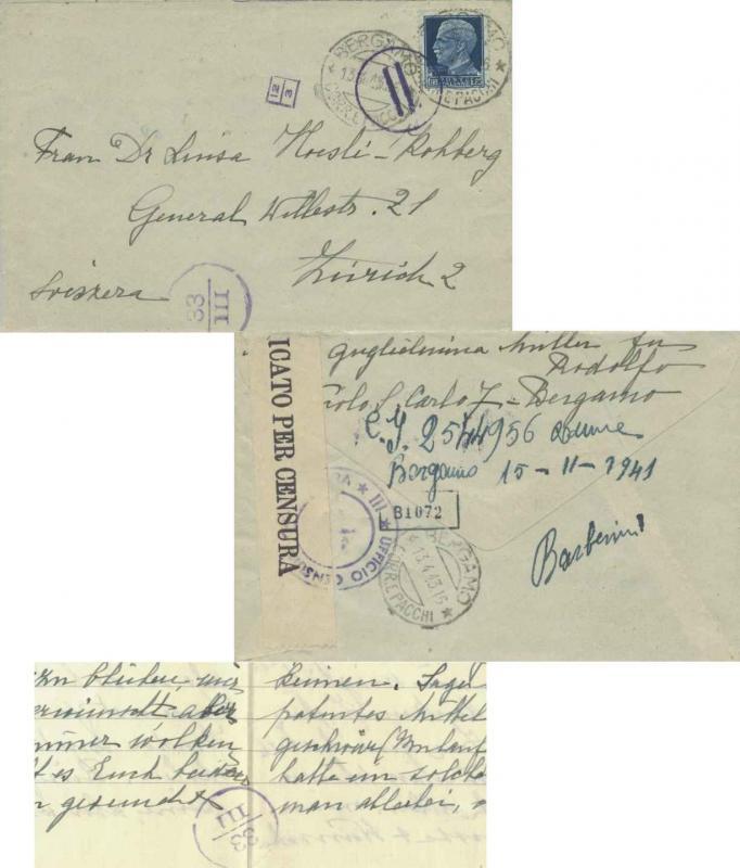 Italy 1.25L Emmanuel III 1943 Bergamo, Corr. e Pacchi to Zurich, Switzerland....