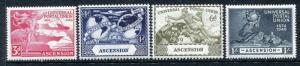 Ascension 57-60, MH, UPU-75 1949 Plane Ship Hemisphere Globe.  x23073