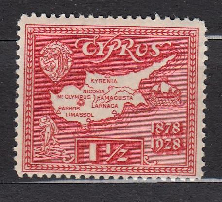 Cyprus - 1928 1 1/2pi Map  Sc# 116 - MH (2404)