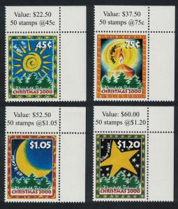 Norfolk Christmas 4v issue 2000 Top Right Corners SG#739-742 SC#711-714