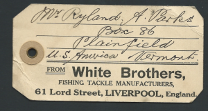 Great Britain White Bothers Fishing Tackle Liverpool Tag (1943)
