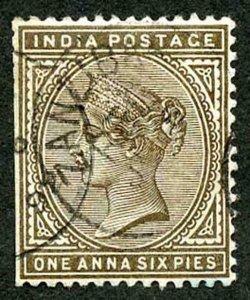 Zanzibar SGZ84 1882-90 India 1a 6p Sepia with CDS (type Z6) Used