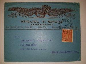 J) 1929 PERU, AUGUSTO B LEGUIA, EAGLE, AIRMAIL, CIRCULATED COVER, FROM PERU TO S