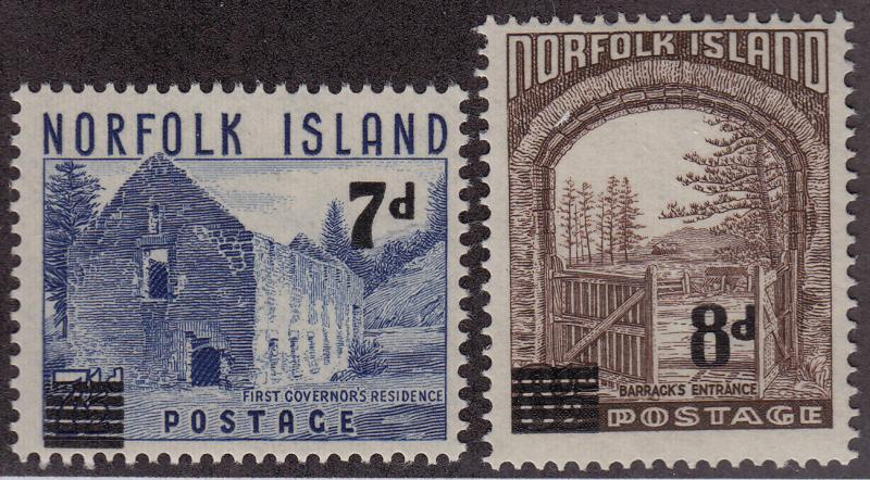 NORFOLK ISLAND MNH Scott # 21-22 Surcharges (2 Stamps) (5)