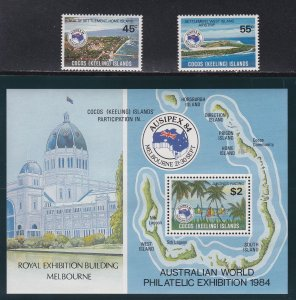 Cocos Islands # 119-120 & 121, AUSIPEX '84, NH, 1/2 Cat.