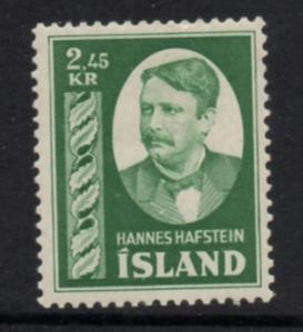 Iceland Sc 285 1954 2.45 kr Hafstein stamp mint