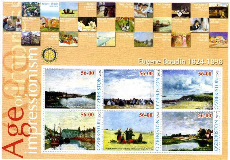 UZBEKISTAN 2002 Eugene Boudin Paintings Rotary Sheet Perforated mnh.vf