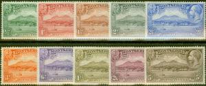 Montserrat 1932 set of 10 SG84-93 Fine Lightly Mtd Mint