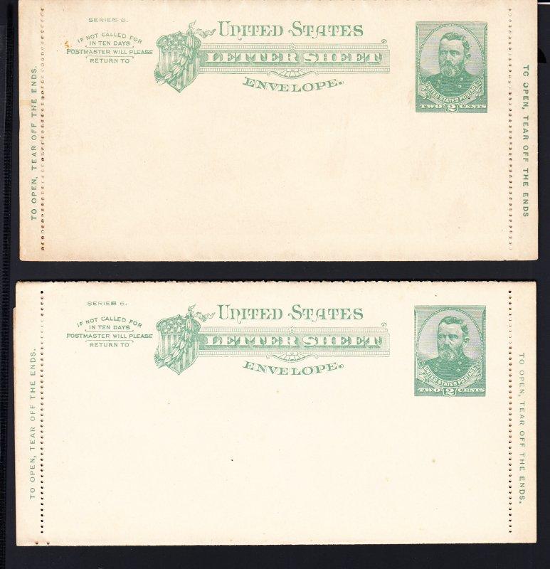 U293 pair of unused letter sheet entires
