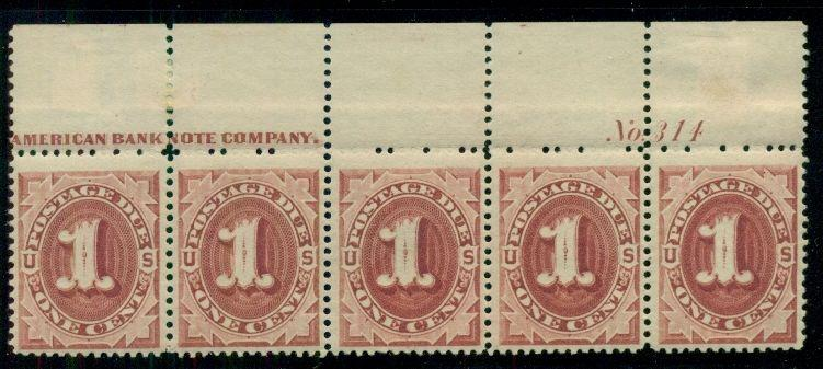 US #J22 1¢ bright claret Postage Due, Imprint Plate No. Strip of 5, NH and LH