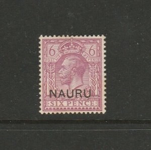 Nauru 1916/23 GV Opts, 6d MM SG 10