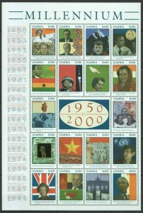 EC091 ZAMBIA MILLENNIUM 1950 TO 2000 GREAT EVENTS 1SH MNH