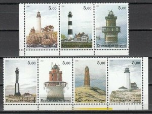 Kuril Is., 2000 Russian Local. Lighthouses on 7 values.