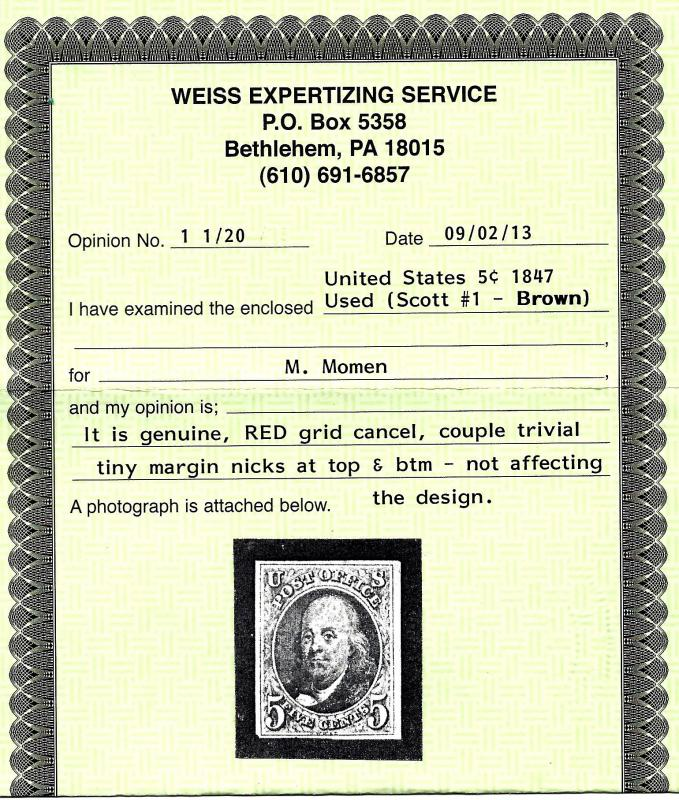 #1 Used... Brown w/4 Nice Margins... SCV $400.00... Weiss Cert... Sound... VF/XF