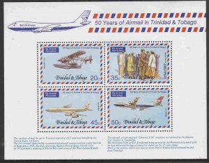 Trinidad and Tobago #271a s/sheet F-VF Mint NH ** Lindbergh, Aviation History