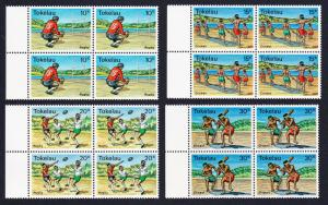 Tokelau Local Sports 4v Blocks of 4 with left selvage SG#69-72 SC#69-72