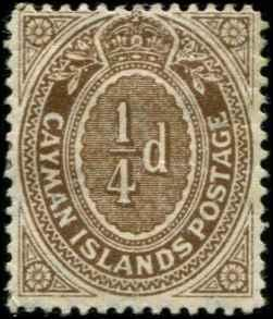 Cayman Islands SC# 31 SG# 38 numeric 1/4d MH