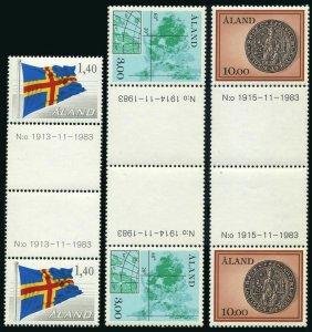Finland-Aland 7,17.20 gutter, MNH. Mi 4-6. Gaff-rigged sloop,Flag,Map,Seal.1985.