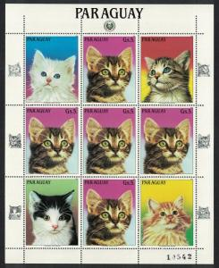 Paraguay Cats Kittens Sheetlet of 5v and labels SC#2133