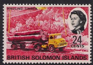 British Solomon Islands 1968 QE2 24ct Hauling Timber Umm SG 176 ( R832 )