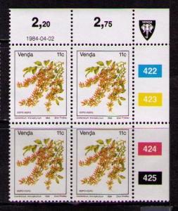 VENDA - RSA Sc# 15 MNH FVF Blk4 Crnr Mgn Flowers Gopo Kopo