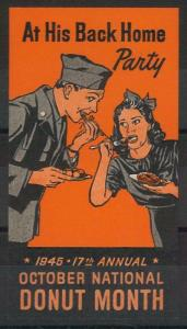 55215 -  VINTAGE  POSTER STAMP Label - USA: DONUT MONTH 1945