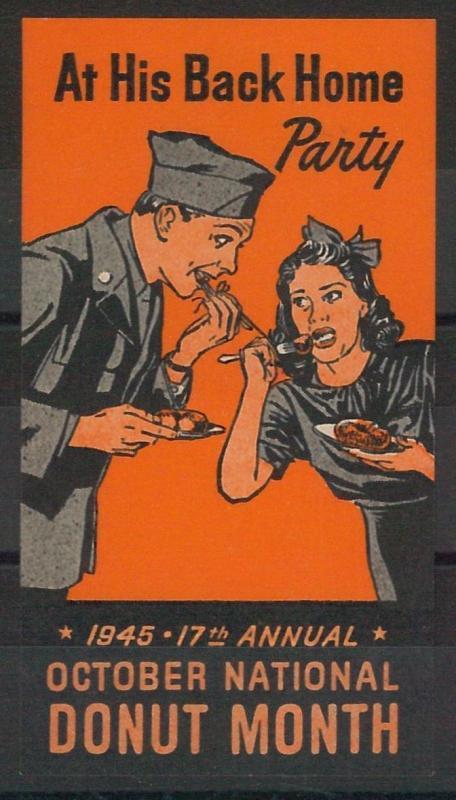 55215 -  VINTAGE  POSTER STAMP Label - USA: DONUT MONTH 1945