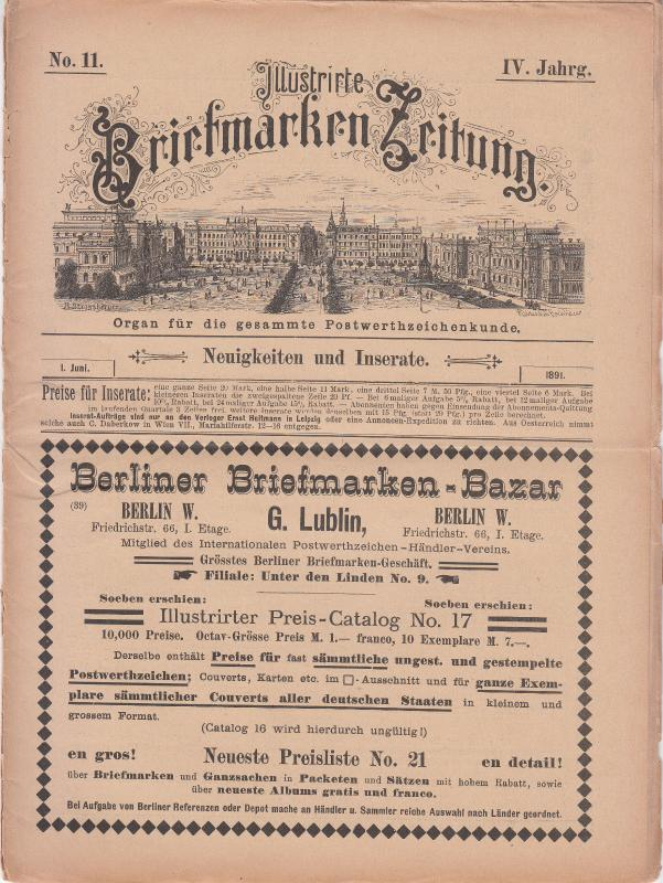 Illustrate Briefmarken Zeitung 1891 #11