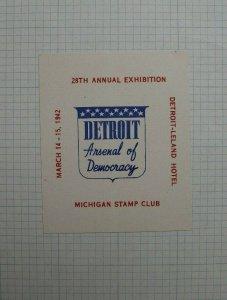 1942 28th Annual Expo Detroit MI Arsenal of Democracy Souvenir Label Ad