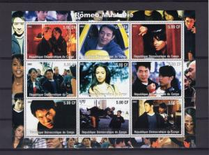 Congo 2002 Jet Li (China) Aaliyah (USA) Romeo Must Die Sheetlet (9) MNH