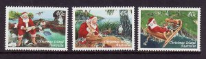 Christmas Is.-Sc#422-4-unused NH set-Christmas-Santa-1999-