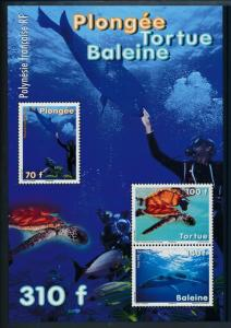 [37844] French Polynesia 2009 Marine life Diving Turtle Whale MNH Sheet