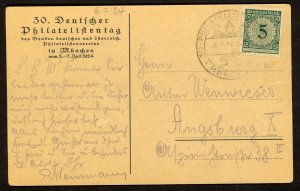 GERMANY 1924 30th German Philatelic Day in Munich Picture Post Card Sc 324 Used