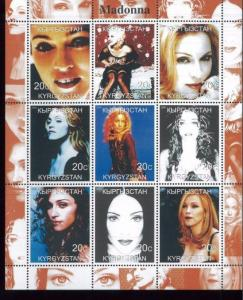 MADONNA Mini Sheet of 9 MNH Kyrgyzstan - E7
