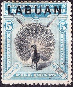 LABUAN 1897 5 Cents Black & Pale Blue SG114 FU