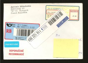 Czech Republic Postmark 1980 Multi-meter Stamp Registered Cover to Canada Used