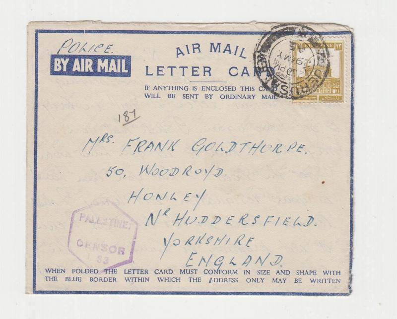 PALESTINE -UK 1945 CENSORED AIR LETTER CARD,PAL CENS#T.33, 13m RATE (SEE BELOW)