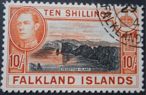 Falkland Islands 1938 GVI 10/- SG 162 used