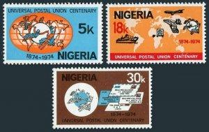 Nigeria 321-323,MNH.Michel 304-306. UPU-100,1974.Map,airplane,car,train,ship.
