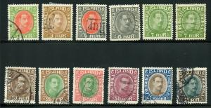 ICELAND SCOTT# 176-186 FINELY USED AS SHOWN CATALOGUE VALUE $161.25