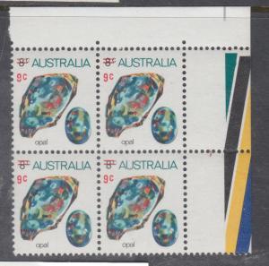 AUSTRALIA 1973 9c on 8c Opal Corner Block of 4 MNH(TR)