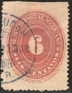 MEXICO 186, 6c LARGE NUMERAL. USED, F-VF. (82)