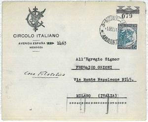 ARGENTINA -  POSTAL HISTORY - COVER to ITALY - 1937