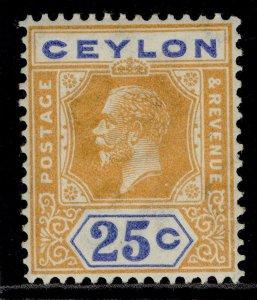 CEYLON GV SG351b, 25c orange-yellow and blue, LH MINT. DIE II